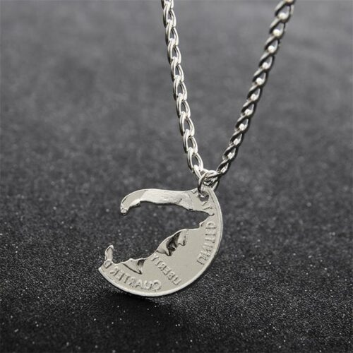 2 Pieces Hand Cut Howling Wolf Necklace