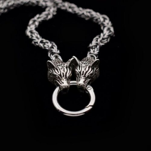 24-inch Norse Two Headed Wolf Necklace