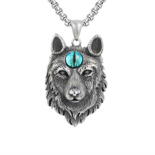 28-inch Third Blue Eye Wolf Necklace