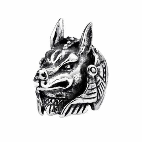 Anubis Zinc Wolf Ring
