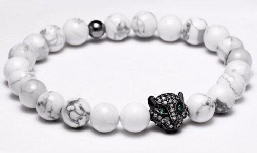 Black Head White Stones Wolf Bracelet