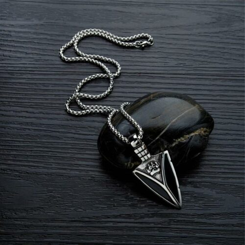 Black Steel Nordic Knife Wolf Necklace
