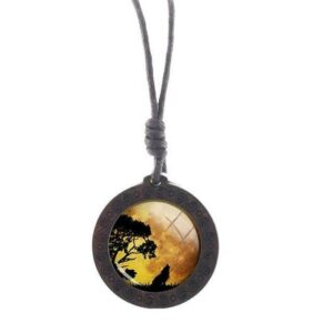 Charm Yellow Sky Wolf Necklace