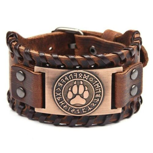 Copper Vintage Leather Wolf Paw Bracelet