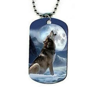 wolf necklace military plate howling at the moon
