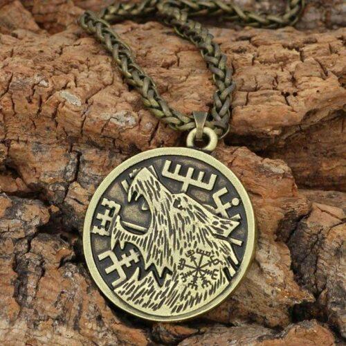 Fenrir Runic Copper Wolf Necklace