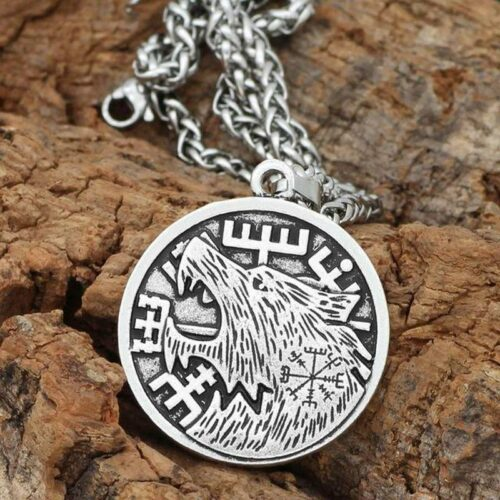 Fenrir Runic Silver Wolf Necklace