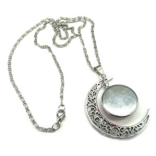 Full Blue Moon Howling Wolf Necklace