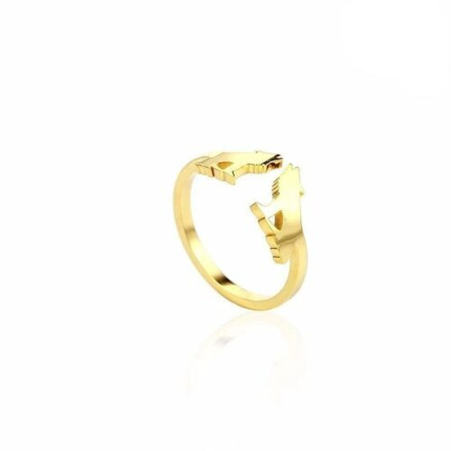 Gold Adjustable Howling Wolf Wedding Ring