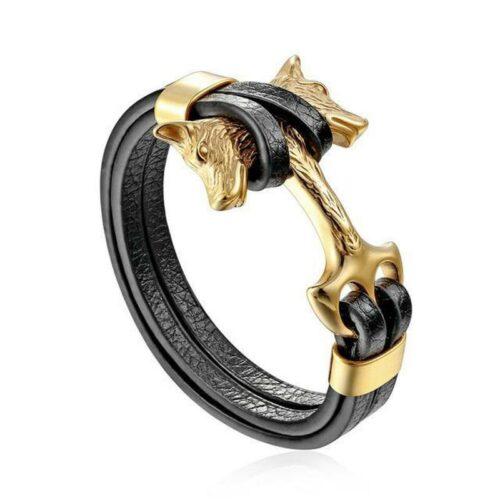 Gold Double Headed Wolf Leather Bracelet