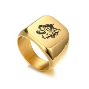 Gold Growling Wolf Signet Ring