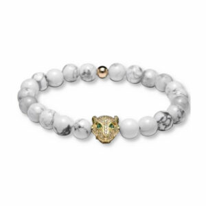 Gold Head White Natural Stones Wolf Bracelet