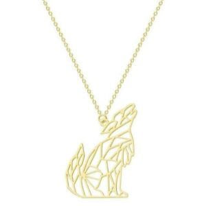 Gold Howling Origami Wolf Necklace