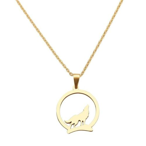 Gold Howling Wolf Necklace