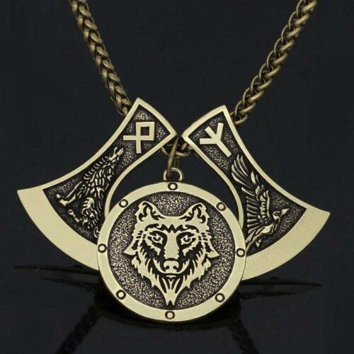Gold Viking Odin's Wolf Necklace