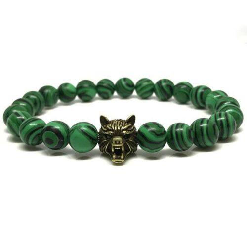 Green Beaded Wolf Head Bracelet