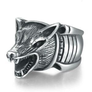 Growling Head Wolf Ring