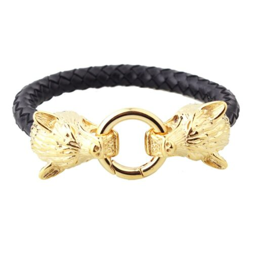 Wolf bracelet with two wolves head and a silver gold