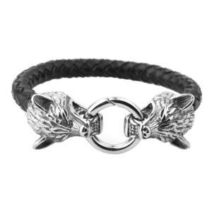 wold two head bracelet silver ring