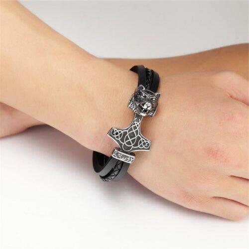Leather Fenrir Wolf Bracelet