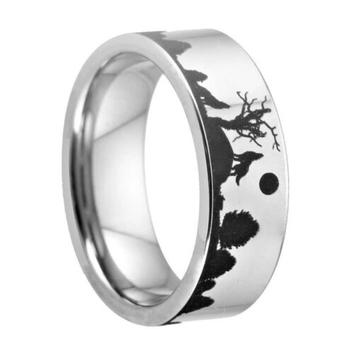 Moon Howling Wolf Ring