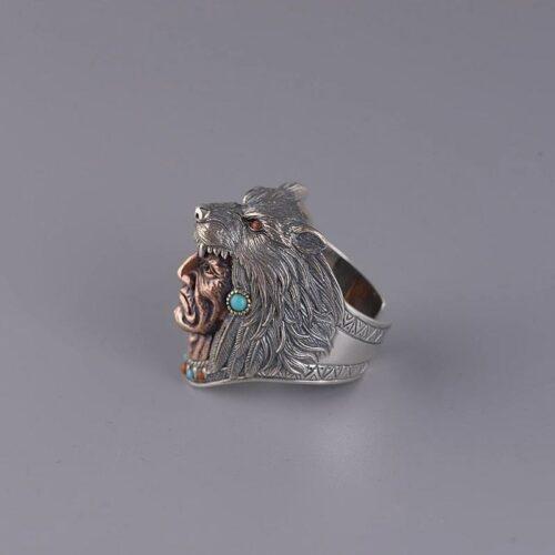 Native Indian Shaman Wolf Ring
