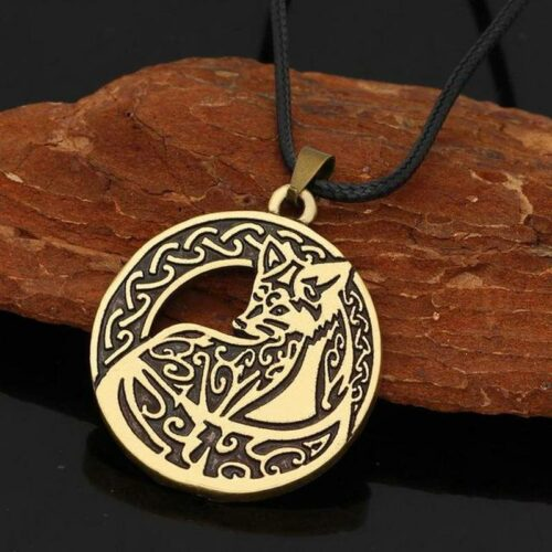 Nordic Copper Wolf Necklace