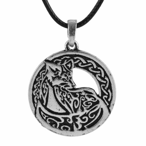 wolf necklace, nordic medallion silver plated