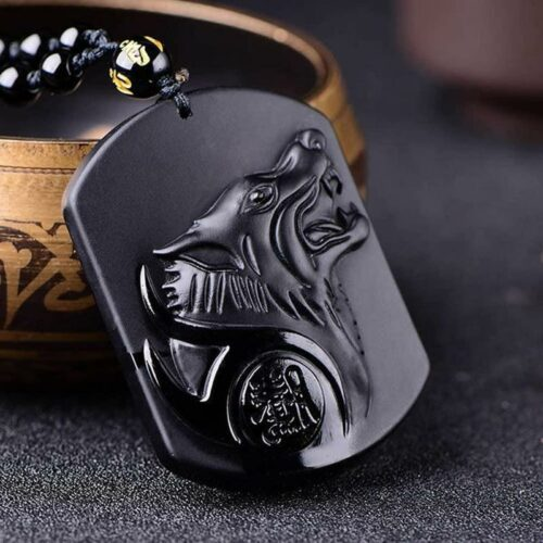 Obsidian Amulet Wolf Necklace