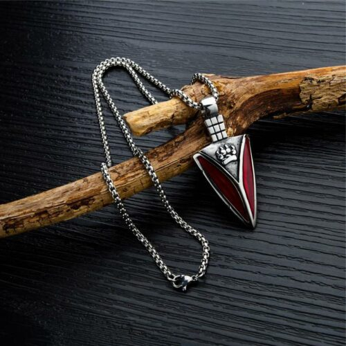 Red Steel Nordic Knife Wolf Necklace