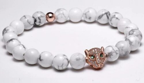 Rose Gold Head White Stones Wolf Bracelet