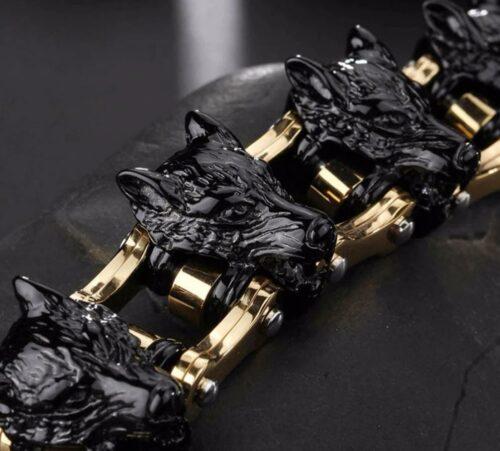 Signature Biker Chain Wolf Bracelet
