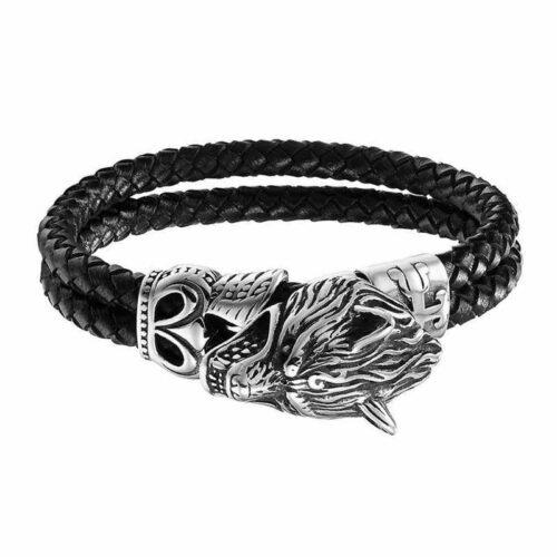 Silver Double Braided Wolf Bracelet