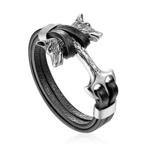 Silver Double Headed Wolf Leather Bracelet