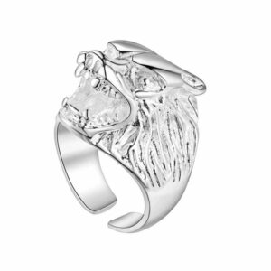 Silver Growling Wolf Ring