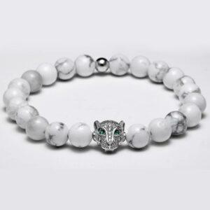 Silver Head White Stones Wolf Bracelet