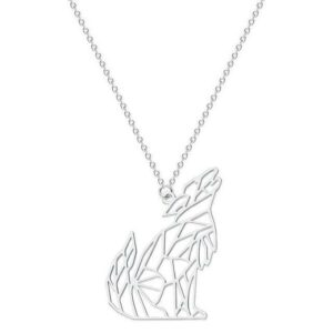 Silver Howling Origami Wolf Necklace