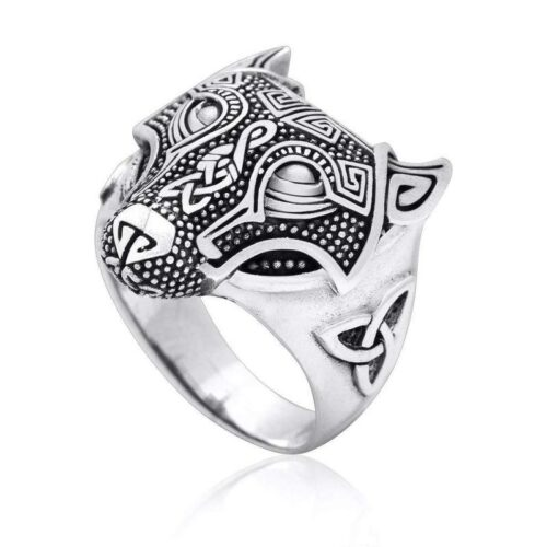 Silver Nordic Wolf Ring