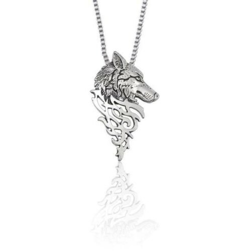 norse wolf head silver necklace carved in a kind of viking or celtic style