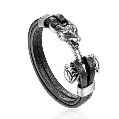 Silver Wolf Leather Bracelet