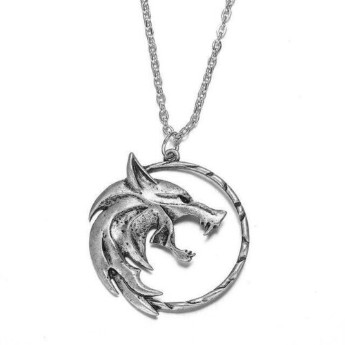The Witcher Wolf Necklace with an engraved wolf emblem of the shcool of the wolf