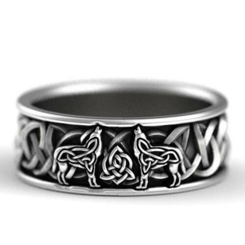 Triquetra Celtic Wolf Ring