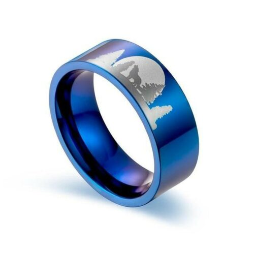 wolf ring howling at the moon blue steel