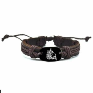 Woven Rope Leather Wolf Bracelet