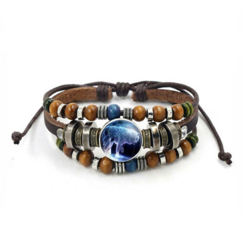 Wolf Bracelet Artic Beads and Charms (Leather and Stone)