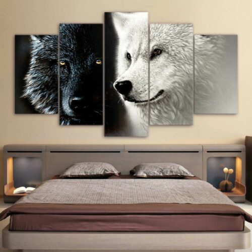 Black Wolf and White Wolf Painting