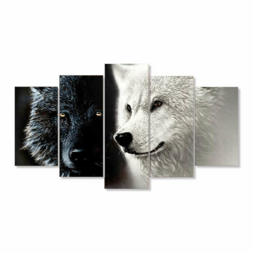 black and white wolves painting art