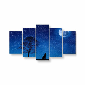 a wolf howling at night with the moon in a blue night