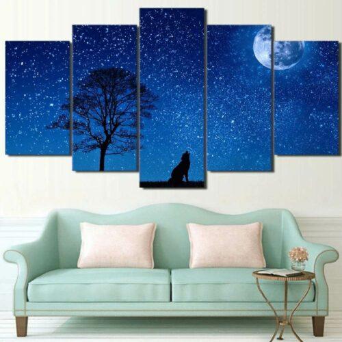 Painting Wolf Blue Night