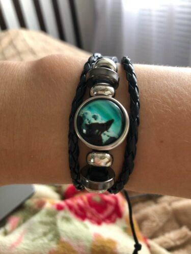 Wolf Bracelet <br>Night Howling Wolf (Leather) photo review